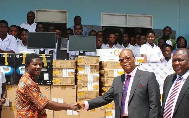 Photo of GCB presents computers to Teshie PRESEC